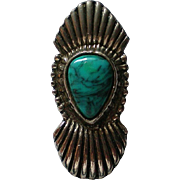 Bolo Tie or Pendant in Silver tone Metal with faux Turquoise Stone