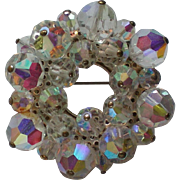 Dazzling Beaded Aurora Borales Austrian Crystal Circle Brooch