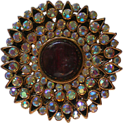 Sparkling Deep Brown Cabochon Circle AB Brooch