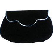 Black Velvet Rhinestone Studded Evening Clutch Purse
