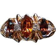 Amber Colored Rhinestone Statement Ring