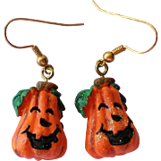 Ceramic Pumpkin Halloween Jack-O-Lantern Earrings