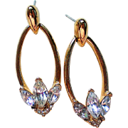 Dazzling Signed Trifari Pierced Dangle Rhinestone Earrings