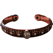Copper Cuff Bracelet with Embedded Rhinestones