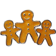 Metal Ginger Bread Men Pin for Christmas Holidays
