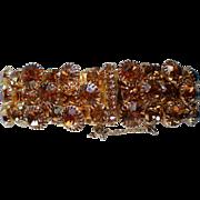 Mid-Century Prong Set Amber Glass Link Bracelet