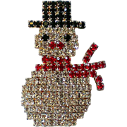 Dazzling Pave Rhinestone Snowman Pin for Christmas Winter Holidays