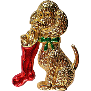 Dog with Christmas Stocking Pin