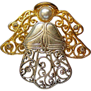 Silver and Gold tone Angel Pin for the Christmas Holidays