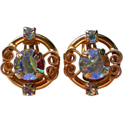 Large Aurora Borales Clip Earrings