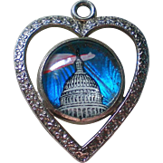 Souvenir United States Capitol and Washington Monument Heart Pendant