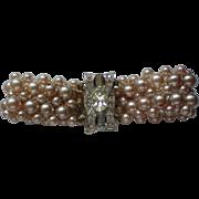 Faux Pearl Rhinestone Clasp Bracelet