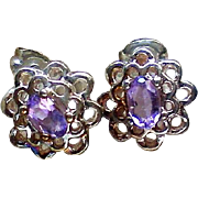 Petite Amethyst Pierced Earrings