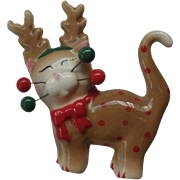 Ceramic Reindeer Kitten Pin for Christmas Holidays