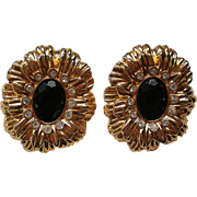KJL Large Clip Floral Earrings for Avon