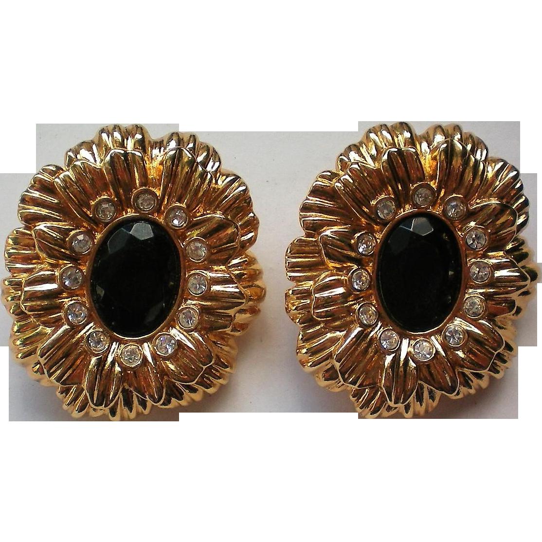 KJL Large Clip Floral Earrings for Avon