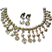 Faux Pearl and Bicone AB Bead Bib Fringe Necklace with Earrings
