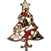 Christmas Tree Pin with Santa, Presents, Ginger Bread Man, and Candy Cane Decorations
