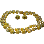 Sunshine Lemon Yellow Double Strand Beaded Necklace with Earrings