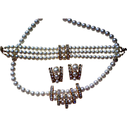 Mid-Century Full Parure Faux Pearl and Rhinestone Set