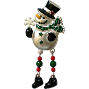 Snowman Pin with Dangle Feet for Winter Holidays