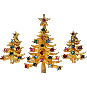 Book Piece MYLU Christmas Tree Pin with Earrings Set