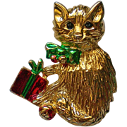 Christmas Present Cat Pin for the Holidays