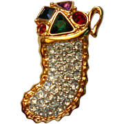 Pave Set Rhinestone Christmas Stocking Pin