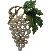 Grape Cluster Pin with faux Pearls