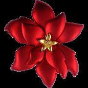 Signed TONA Poinsettia Flower Brooch for Christmas / Hanukkah / Winter Holidays