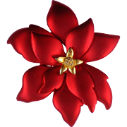 Signed TONA Poinsettia Flower Brooch for Christmas / Hanukkah / Winter Holidays