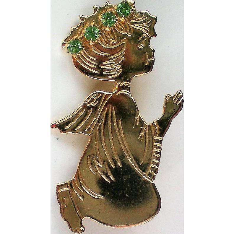 Small Gold tone Angel Pin for Christmas / Hanukkah
