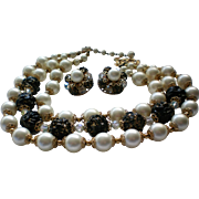 Mid-Century faux Pearl Beaded Necklace with Clip Earrings