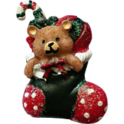 Ceramic Teddy Bear Christmas Stocking Pin