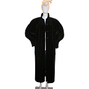 Black Velvet 80s Opera Victorian Style Maxi Coat by Cattiva