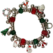 Christmas Holiday Beaded Charm Stretch Bracelet