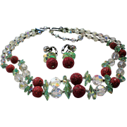 Raspberry Sugar Crystal Beaded Aurora Borales Necklace and Earrings