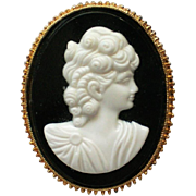 White Molded Cameo Brooch