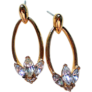 Dazzling Signed Trifari Pierced Dangle Rhinestone Earrings