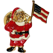 Patriotic American Flag Santa Hat, Tie or Lapel Pin for the Christmas Holidays