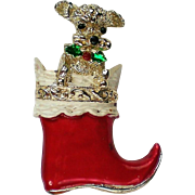 Book Piece Gerry's Poodle in a Christmas Stocking Pin for Holidays