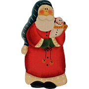 Wooden Cut Out Mrs. Santa Pin for Christmas