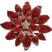Enameled Multi-Layered Poinsettia Christmas Holiday Brooch