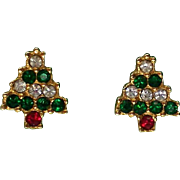 Petite Crystal Christmas Tree Holiday Pierced Earrings
