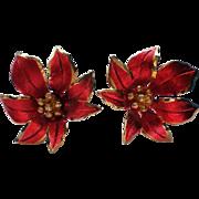 Vintage Cerrito Poinsettia Earrings for Christmas Holidays