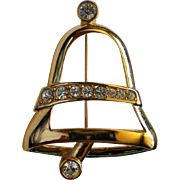 Napier Gold tone Bell for the Christmas / Hanukkah / Winter Holidays