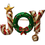 JOY Candy Cane Pin with Wreath for Christmas / Hanukkah Holidays