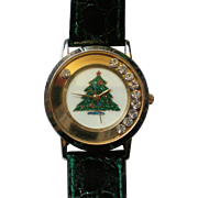 Christmas Tree Watch with Floating Rhinestones
