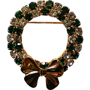 Glittering Green and Clear Rhinestone Wreath Brooch for Christmas Holidays