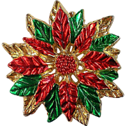 Poinsettia Brooch for Christmas / Hanukkah Holidays